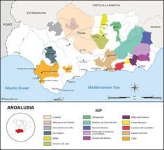 Indicaciones Geographicas Protegidas wine regions and vineyards map of Andalusia, Spain Sierra Nevada, Murcia, Andalusia, Wine And Spirits, Charts, Vineyard, Live, World, Red Wine