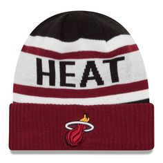 Miami Heat New Era Current Logo Biggest Fan 2.0 Cuffed Knit Hat - Black