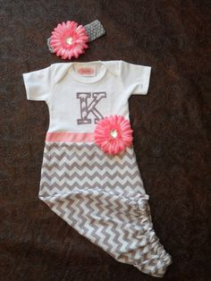 Chevron Layette Gown Simply elegant! For baby Our layette outfit is perfect for your new baby girls going home outfit. A special day deserves her