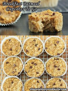 Never skip breakfast again. Cook once, and you have a delicious breakfast or dessert for the entire month! These customizable baked oatmeal cupcakes are great on-the-go fuel for those days when you have zero time in the morning to prepare a big meal. Oatmeal Cupcakes, Breakfast Cupcakes, Breakfast Recipes, Dinner Recipes, Oatmeal Muffins, Breakfast Ideas, Healthy Cooking, Cooking Recipes, Vegetarian Recipes