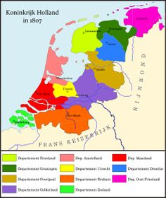 Departement Oost Friesland in magenta European Map, European History, Utrecht, Holland Map, Dutch Republic, Holland Netherlands, Country Maps, Family Roots, Historical Maps