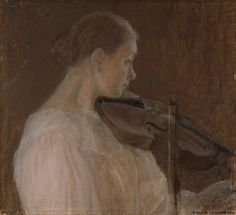 Viulunsoittajatar (The Violin Player) by Ellen Thesleff (1896) Finnish National Gallery. This painting depicts Thyra Thesleff, the youngest sister of the artist.