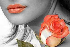 Orange lips and rose