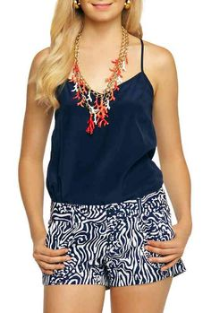 Lilly Pulitzer Walsh Printed Short in Bright Navy Night Swimming