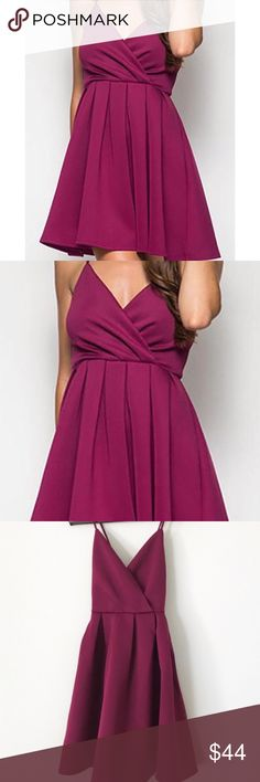 """fuchsia fit & flare scuba dress She + Sky boutique brand  Fuchsia fit & flare scuba dress. This dress is incredibly feminine, with spaghetti straps that criss-cross in the back for a perfect fit. A fitted top accented by a delicately flared skirt. Back zipper with hook closure.   size: medium approx measurements:        •bust across: 12""""        •length from shoulder: 33""""        •length from waist: 19"""" materials:        •self: 70% cotton, 30% rayon        •lining: 100% polyester condition…"""