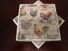 Ceramic Tile Coaster Set: Rooster and Hens Set of 4 by EnhancedArt