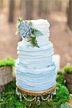 Blue Ombre Ruffle Wedding Cake See more here: http://www.weddingchicks.com/2015/06/04/romantic-forest-wedding-inspiration/