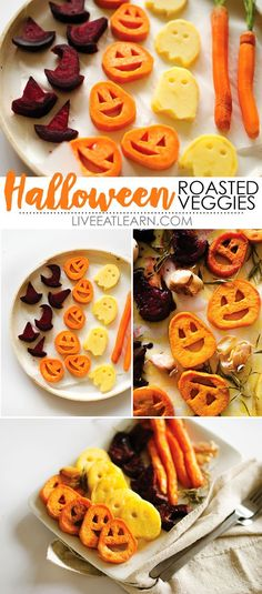 Awesome Halloween idea! With sweet potato jack-o-lanterns, beet root witch's hats, and spooky potato ghosts, this Halloween Roasted Veggies recipe is a healthy way to celebrate this October!