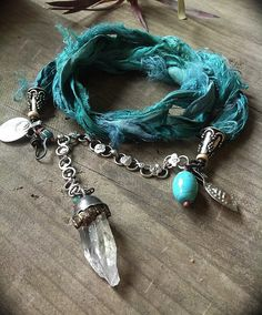 Tribal silk wrap bracelet in teal blue and silver with turquoise, quartz crystal Ribbon Jewelry, Wire Jewelry, Jewelry Crafts, Jewelry Art, Jewelry Bracelets, Jewelry Design, Bangles, Necklaces, Jewellery