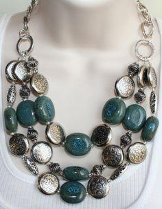 Bold Blue/Silver Ceramic Statement Necklace, Gypsy Boho Bib Necklace