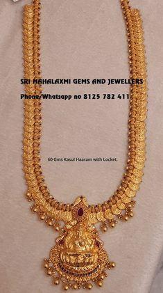 Beautiful long haaram with Lakshmi kasu hangings. Long haaram with Lakshmi devi pendant.