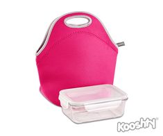 KOOSHTY LUNCH KIT Insulating and protective Neoprene lunch bag including a glass food container with snap-lock plastic lid. The food container fits snugly inside the bag, but leaves plenty of room to add other items, like drinks or fruit.   Combines nicely with a Kooshty 500ml bottle, which fits perfectly inside the bag.