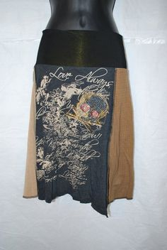 Recycled tee shirt skirt  small by oreomocha on Etsy, $28.00