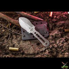 TOPS Knives Fiel Fixed Blade Neck Knife (3 Inch Stonewash) FIEL-01…