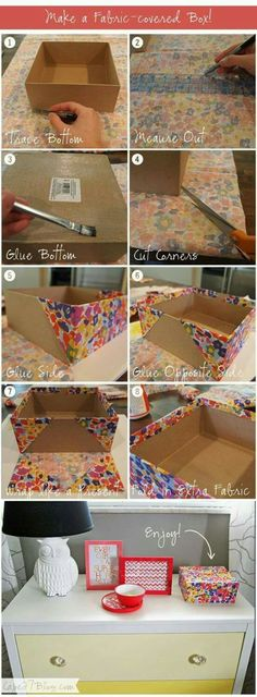 DIY Fabric Covered Box by ingeborg.robsonhitchiner DIY Fabric Covered Box by ingeborg.robsonhitchiner Pin: 600 x 1630 Fabric Covered Canvas, Fabric Covered Boxes, Diy Projects To Try, Craft Projects, Weekend Projects, Fun Crafts, Diy And Crafts, Shoebox Crafts, Shoebox Ideas