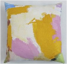 """A different take on decorative art. This series is based on the Abstract Expressionist works of Willem de Kooning, Franz Kline, Jackson Pollock, and Robert Motherwell. Painted with pliable acrylic paint on cotton canvas, backed in velvet or corduroy, and filled with goose down and feathers. Each pillow measures 18"""" square."""