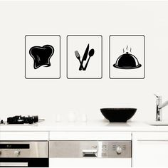 Kitchen Dishes Tray Chef Hat Wall Art Sticker Decal
