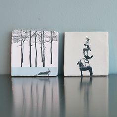 Art on Tiles - Made in Holland - Dutch Design by Marga van Oers. Title: Hare & Design Circus.