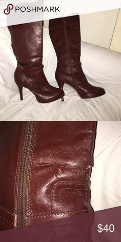 Knee Boots, size 7.5 Knee boots in a unique wine color. Size 7.5. In great condition but with small signs of wear that can easily be altered by a cobbler. Great investment piece. 3 inch heel. Michael Antonio Shoes Heeled Boots