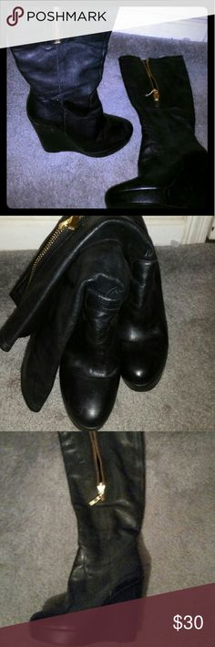 Boots Black faux leather boots, made in Brazil. In good condition. Shoes Platforms