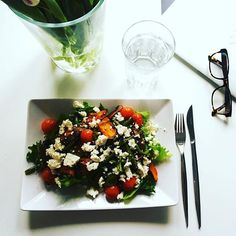 Perfect Leftover Lunch! Warm Salad with #greenbeans #sweetpotato #tomato #feta #spoonfulness #leftovers