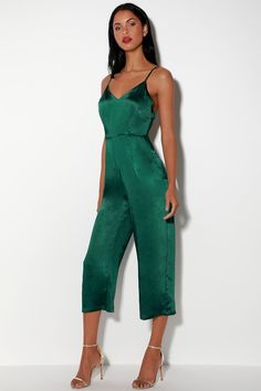 ce95821d284 Cool Forest Green Jumpsuit - Satin Jumpsuit - Culotte Jumpsuit Satin  Jumpsuit
