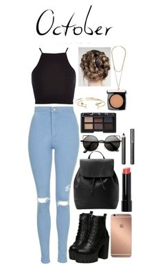 """""""Octobre"""" by lovelydgessy ❤ liked on Polyvore featuring Topshop, River Island, MANGO, Mura, Bobbi Brown Cosmetics, NARS Cosmetics, Burberry, Aéropostale, Lancôme and Givenchy"""
