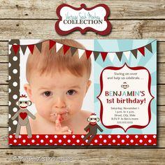 Sock Monkey Birthday Party Photo Invitation by designingforpeanuts, $15.00