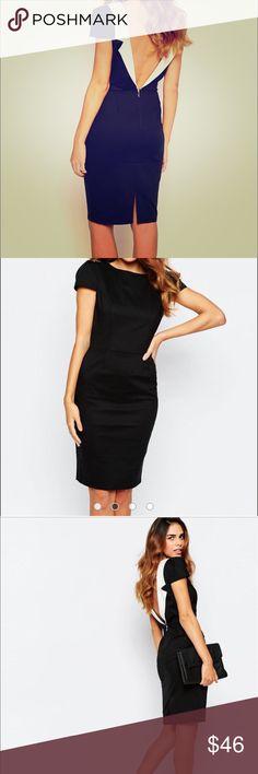 ASOS Paper Dolls Tuxedo Pencil Dress w/ Open Back Open Back dress. Worn once to a wedding.. ASOS Dresses Midi