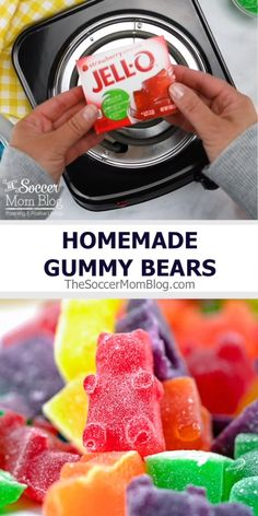 Jello Gummy Bears We LOVE this easy recipe to make homemade gummy bears with Jello! Only 4 simple ingredients!<br> These delicious Homemade Gummy Bears are the perfect homemade candy treat! Homemade Gummy Bears, Homemade Gummies, Homemade Candies, Homemade Candy Recipes, Homemade Rock Candy, Homemade Cotton Candy, Making Gummy Bears, Hard Candy Recipes, Homemade Slime