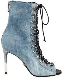 """95mm Hohe Knöchelstiefel Aus Denim """"Club"""" - Werbung #Stiefel #knöchelstiefel #Schuhe #Schuhtrends #Schnürstiefel"""