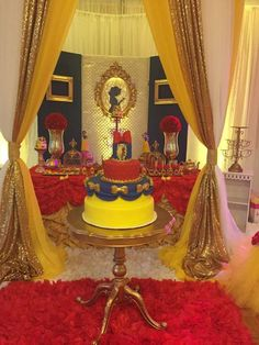 Gorgeous red and yellow Snow White birthday party! See more party planning ideas at CatchMyParty.com!
