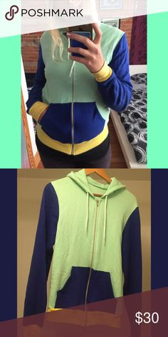 american apparel fleece zip hoodie multicolored m Stand out in the crowd with this rare and unique multicolored zip fleece from everybody's favorite brand, American Apparel. Show the hipsters you got swag. Mixed with mint green, navy blue and light yellow. Size medium and is pre owned. One little spot on the back. Check out my other items ! :) American Apparel Sweaters