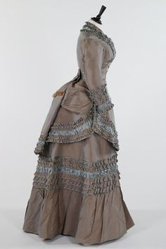 Antique clothing, including late 1870s grey/blue.