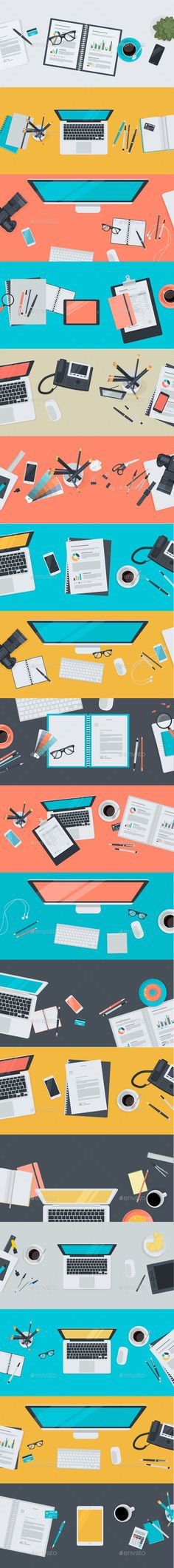 Set of Flat Design Workspace Concepts #jpg #image #business #icon • Available here → https://graphicriver.net/item/set-of-flat-design-workspace-concepts/10622797?ref=pxcr