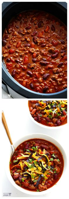 Classic Slow Cooker Chili -- easy to make, and perfect for game day or chilly nights | gimmesomeoven.com #crockpot #slowcooker #gameday