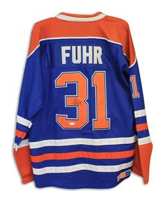 fe0139e96 Grant Fuhr Edmonton Oilers Autographed Blue CCM Jersey Inscribed