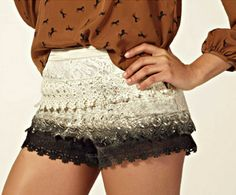 dip dyed DIY lace shorts