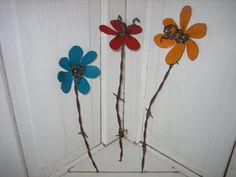 Rustic Metal Garden Art Flowers SET OF 3 FLOWERS by PatsGardenArt, $29.00