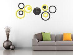 Ceas decorativ cercuri negre si galbene. Este confecţionat din plexiglass lucios. Decals, Home Decor, Tags, Decoration Home, Room Decor, Sticker, Decal, Home Interior Design, Home Decoration