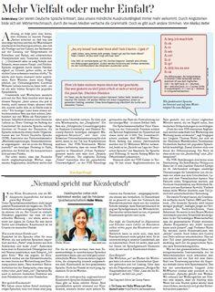 German language changes, articles on web speak and migrant dialekt Kiezdeutsch (Stuttgarter Zeitung, 2013)