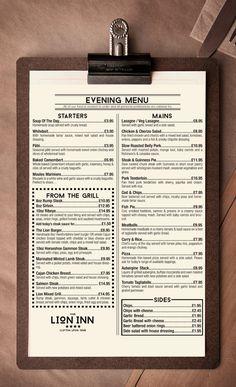 Lion Inn evening menu.