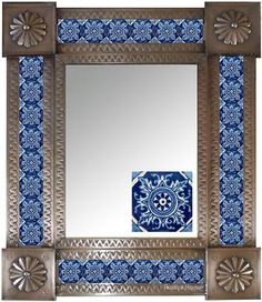 mexican mirrors: rectangular medium tin mirror
