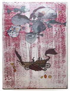Stef Palgen - Mongolfière - Mai 2014 - Acrylique, aquarelle. Mai, Vintage World Maps, Moose Art, Creations, Animals, Watercolor Painting, Paint, Animales, Animaux
