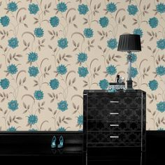 Sadie Blue Floral Wallpaper - Blue Flower Wall Coverings by Graham  Brown//