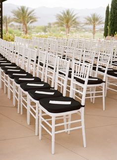 Black and White Wedding Ceremony Chairs (Frame 36 Photography)