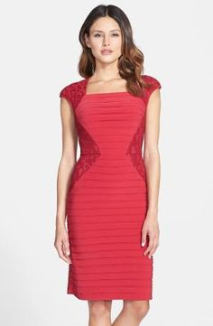 for Sale Adrianna Papell Lace Panel Shutter Pleat Sheath Dress Compare by begoitbuys