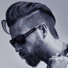 Textured Slick Back + Short Sides + Part + Thick Beard