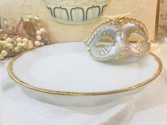 Vintage Milk Glass Oval Platter With Gold Rim - Anchor Hocking Fire King Oven Ware - Made In USA by StaceysHutch on Etsy