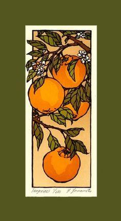 Yoshiko Yamamoto - Tangerines, signed edition of 280. Linoleum-block print, 8.5″ x 15.5″